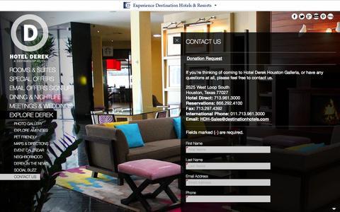 Screenshot of Contact Page hotelderek.com - Boutique Hotels Houston Texas | Hotel Derek - Contact | Boutique Hotels Houston TX - captured Sept. 22, 2014