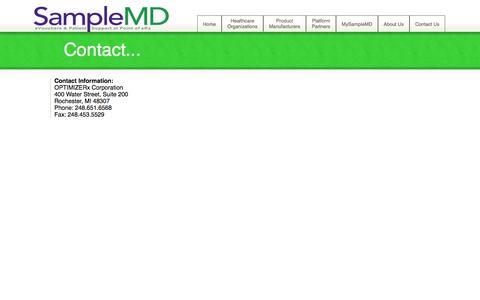 Screenshot of Contact Page samplemd.com - Contact - OPTIMIZERx Corporation - captured Oct. 4, 2014