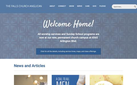 Screenshot of Home Page tfcanglican.org - Home - The Falls Church Anglican - captured Oct. 18, 2018