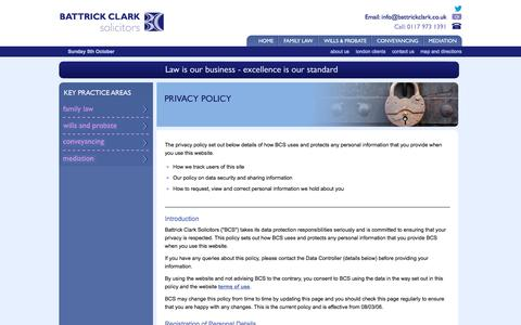 Screenshot of Privacy Page battrickclark.co.uk - Battrick Clark Solicitors Bristol: Privacy Policy - captured Oct. 5, 2014