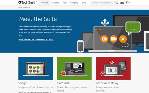 Screenshot of Products Page techsmith.com - Explore, Try, or Buy TechSmith Software - captured Oct. 26, 2014