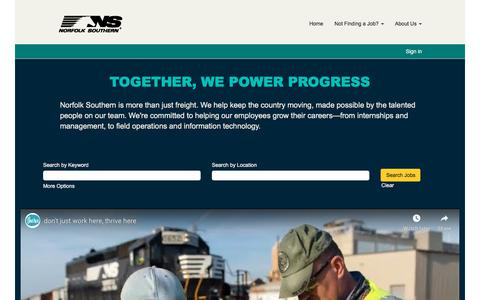 Screenshot of Jobs Page nscorp.com - Norfolk Southern - captured July 19, 2019