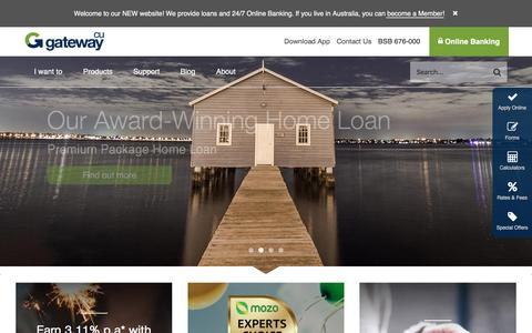 Screenshot of Home Page gatewaycu.com.au - Gateway Credit Union - captured Aug. 30, 2016