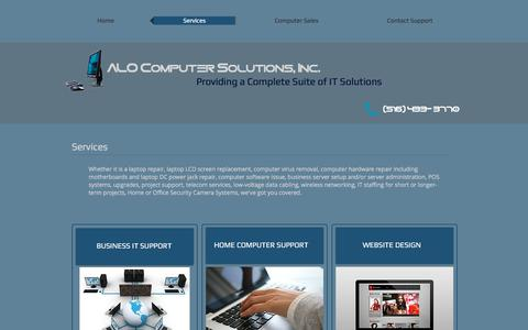 Screenshot of Services Page alocomputers.com - ALO Computer Services - captured July 9, 2018