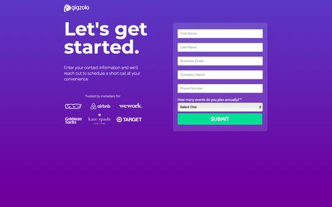 Screenshot of Trial Page gigzolo.com captured Nov. 17, 2018