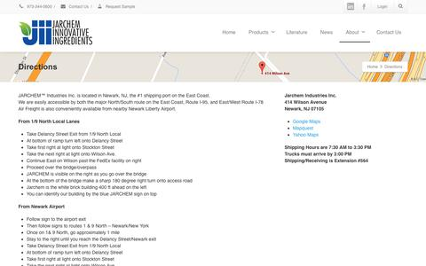 Screenshot of Maps & Directions Page jarchem.com - Directions - Jarchem | Innovative Nature-Based and Chemical Ingredients - captured Oct. 13, 2018