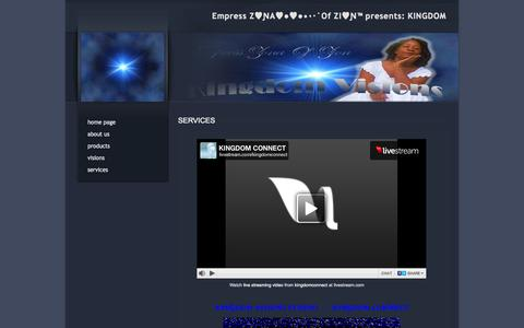 Screenshot of Services Page kingdomvisions.org - SERVICES - captured Sept. 30, 2014