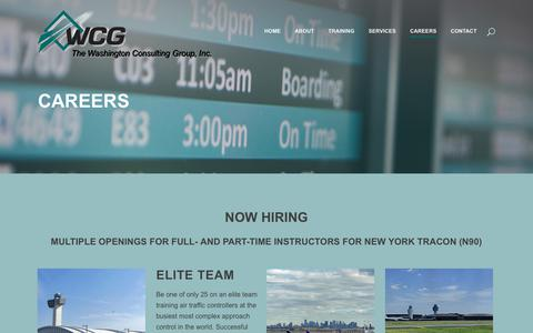 Screenshot of Jobs Page washcg.com - The Washington Consulting Group, Inc.     Careers - captured Oct. 18, 2018