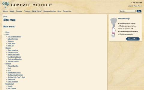 Screenshot of Site Map Page gokhalemethod.com - Site map | Gokhale Method Institute - captured Sept. 22, 2014