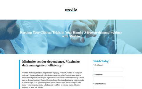 Screenshot of Landing Page medrio.com - medrio - captured July 21, 2018