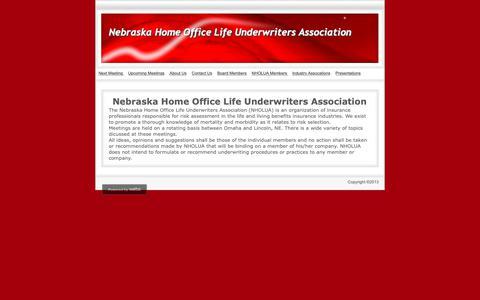 Screenshot of About Page nholua.com - About Us - Nebraska Home Office Life Underwriters  Association - captured Nov. 27, 2018