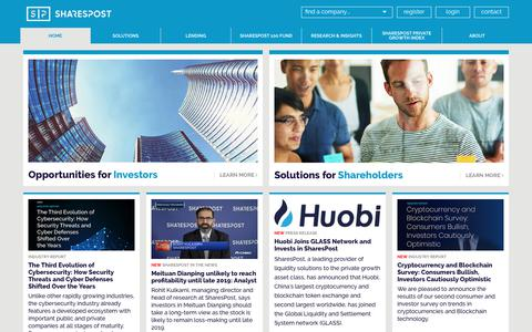 Screenshot of Home Page sharespost.com - SharesPost | Private Investment Opportunities - captured Sept. 21, 2018