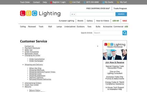 Screenshot of Privacy Page Support Page lbclighting.com - Customer Service - LBC LightingLBC Lighting - captured Feb. 9, 2016