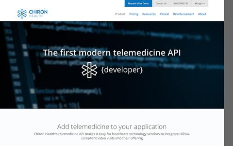 Screenshot of Developers Page chironhealth.com - Telemedicine API | Chiron Health - captured Dec. 8, 2015