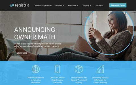 Screenshot of Home Page registria.com - Registria - Turn a Moment Into a Lifetime - captured Nov. 7, 2018
