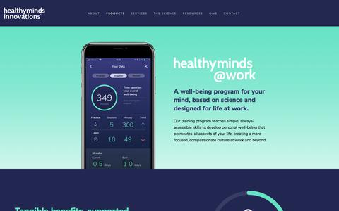 Screenshot of Products Page hminnovations.org - Healthy Minds @Work - Healthy Minds Innovations - captured July 11, 2018