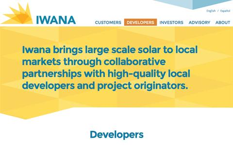 Screenshot of Developers Page iwanaenergy.com - Developers | IWANA Energy | Solar Energy Solutions - captured Oct. 6, 2014