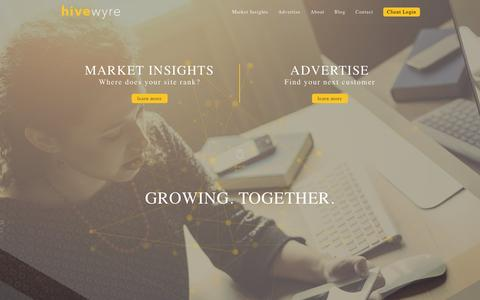 Screenshot of Home Page adhesive.co - Hivewyre The Online Advertising Co-op - captured Oct. 1, 2015
