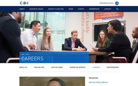 Screenshot of Jobs Page cbi.org.uk - Careers - CBI - captured Oct. 3, 2016