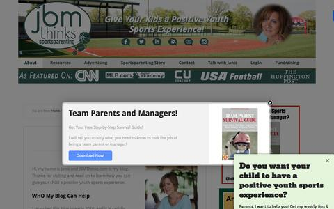 Screenshot of About Page jbmthinks.com - Sports Parenting: get the most out of your child's sports experience - captured Feb. 13, 2016