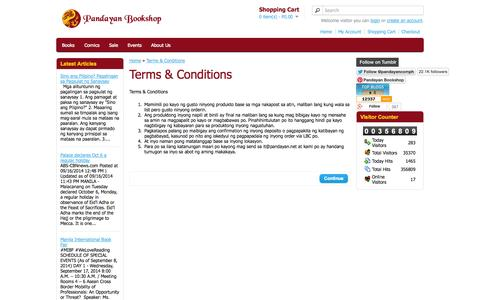 Screenshot of Terms Page pandayan.com.ph - Terms & Conditions - captured Nov. 1, 2014
