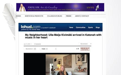 Screenshot of Press Page amalam.com - Interviews of Ullamaya Ma aka Ulla-Maija Kivimaki - Amalam Arts & Consulting - captured Oct. 4, 2014