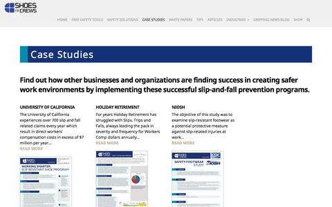 Screenshot of Case Studies Page shoesforcrews.com - Case Studies | - SFC B2B Resource Center - captured Aug. 1, 2019