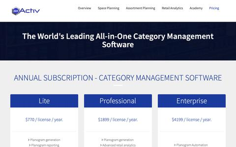 Screenshot of Pricing Page dotactiv.com - DotActiv Pricing - Software and Services - captured Oct. 9, 2018