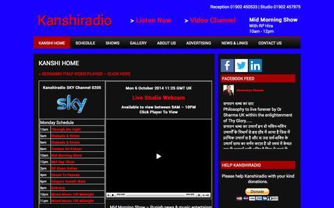 Screenshot of Home Page kanshiradio.com - Kanshi Radio Streaming Live - captured Oct. 6, 2014