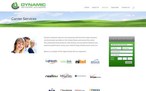 Screenshot of Services Page dynamicnetworkadvisors.com - Carrier Services - captured Sept. 26, 2014