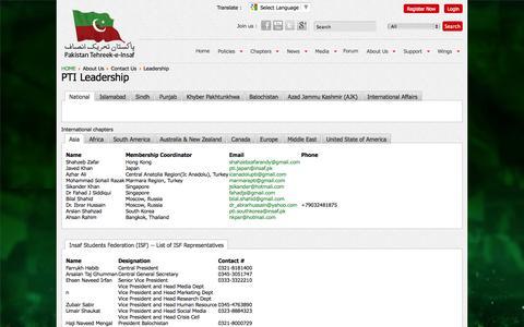 Screenshot of Team Page insaf.pk - Leadership - captured Sept. 19, 2014
