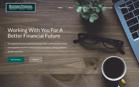 Screenshot of Home Page boatmanfinancial.co.uk - Boatman Financial: Independent Financial Advisers in Calne, Chippenham and South West. - captured Oct. 6, 2018