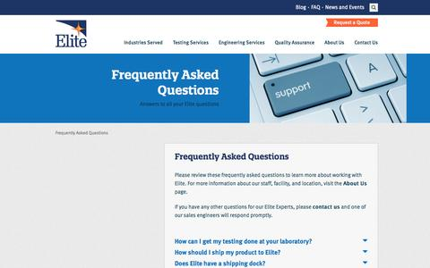 Screenshot of FAQ Page elitetest.com - Frequently Asked Questions   Elite Electronic Engineering, Inc. - captured Nov. 1, 2014