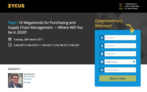 Screenshot of Landing Page zycus.com - 10 Megatrends for Purchasing and Supply Chain Management — Where Will You be in 2020 - captured March 30, 2017