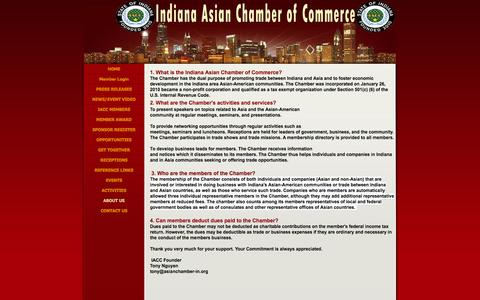 Screenshot of About Page asianchamber-in.org - ABOUT US - Indiana Asian Chamber of Commerce - captured Oct. 6, 2014