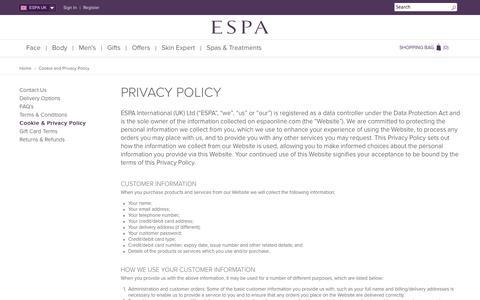 Screenshot of Privacy Page espaskincare.com - Cookie and Privacy Policy  | ESPA - captured Sept. 19, 2014