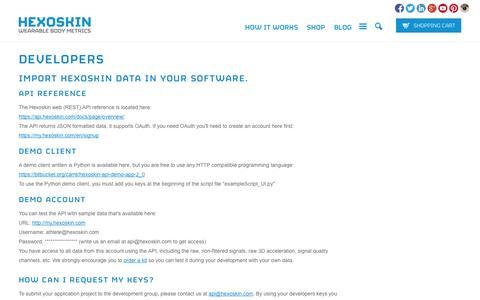 Screenshot of Developers Page hexoskin.com - Developers - Hexoskin API - smart shirt               | Hexoskin - captured Sept. 12, 2014