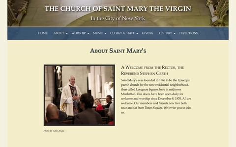 Screenshot of About Page stmvirgin.org - About Saint Mary's — The Church of Saint Mary the Virgin - captured Nov. 5, 2016