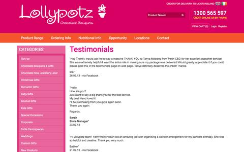 Screenshot of Testimonials Page lollypotz.com.au - Testimonials from Lollypotz' many happy customers - captured Dec. 13, 2015
