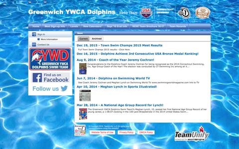 Screenshot of Press Page teamunify.com - Greenwich YWCA Dolphins Swim Team : News - captured Nov. 16, 2016