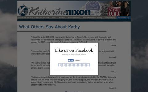 Screenshot of FAQ Page katherinenixon.com - What Others Say | Katherine Nixon - captured Oct. 15, 2018