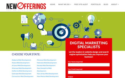 Screenshot of Locations Page newofferings.com - NewOfferings - Website Design - Digital Marketing Specialists - captured July 9, 2018