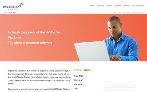 Screenshot of Trial Page modsolar.net - Free Trial | ModSolar - captured Oct. 18, 2018