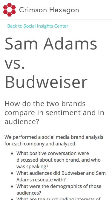 Social Media Brand Analysis | Sam Adams vs. Budweiser
