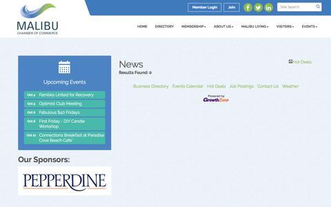 Screenshot of Press Page malibu.org - News - Malibu Chamber of Commerce, CA - captured Oct. 5, 2017