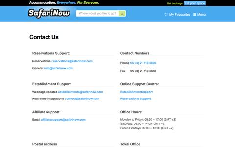 Screenshot of Contact Page safarinow.com - Contact Us - captured Dec. 3, 2015