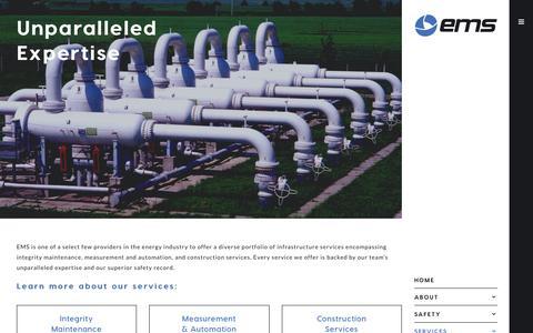 Screenshot of Services Page emsusainc.com - Our Services - Energy Maintenance Services - captured July 10, 2016
