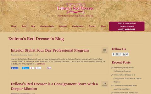 Screenshot of Blog evilenasreddresser.com - Evilena's Red Dresser's Blog - consignment news - captured July 22, 2018