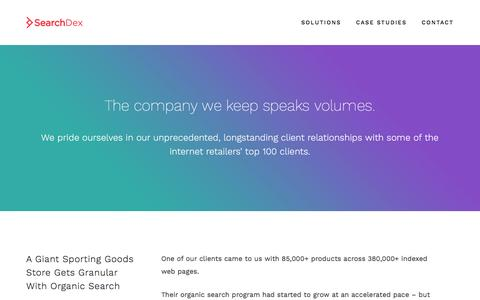 Screenshot of Case Studies Page searchdex.com - Case Studies - SearchDex - captured July 23, 2016
