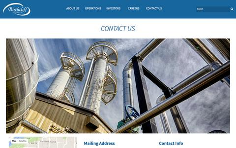 Screenshot of Contact Page birchcliffenergy.com - Contact Information - Contact Us - Birchcliff Energy - captured Feb. 7, 2016